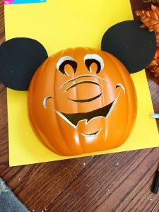 Trace pumpkin to create backing for Mickey O'Lantern