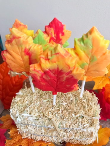Chocolate Leaf Lollipops for It's the Great Pumpkin Charlie Brown Movie Night