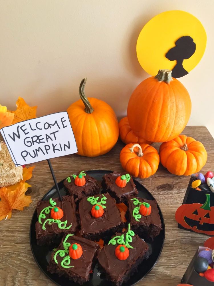 Patch of pumpkin brownies to welcome the Great Pumpkin