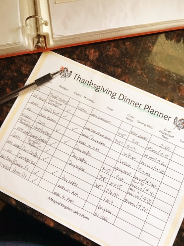 Thanksgiving Dinner Planner - A Magical Kingdom called Home